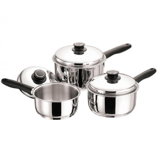 3 Piece Stainless Steel Saucepan Set Black Handle
