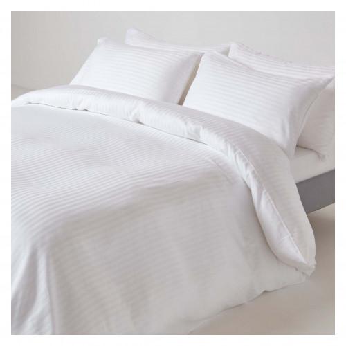 Satin Stripe Duvet Cover - White