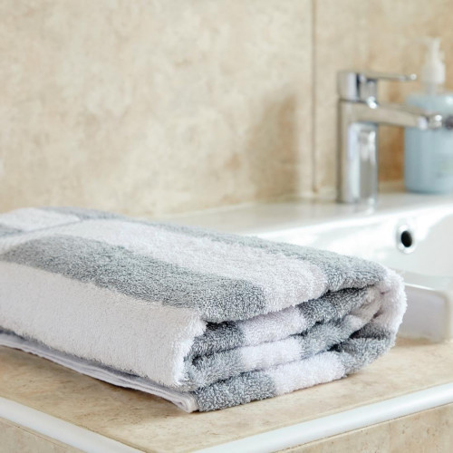 Bath Towel 650g White and Grey Striped