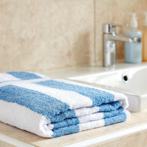 Bath Towel 650g White and Light Blue Striped