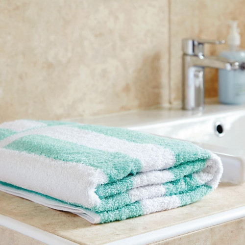 Bath Towel 650g White and Mint Striped