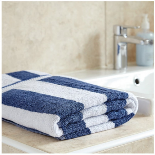 Bath Towel 650g White and Navy Blue Striped