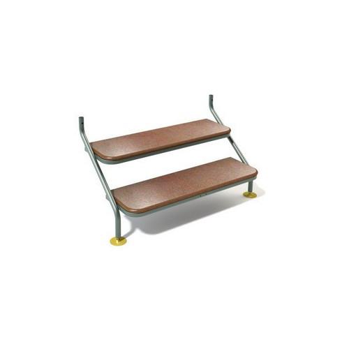 Stainless Steel Caravan Steps 2 Tread 125cm - Green