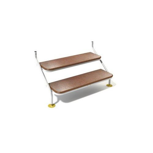 Stainless Steel Caravan Steps 2 Tread 125cm - White