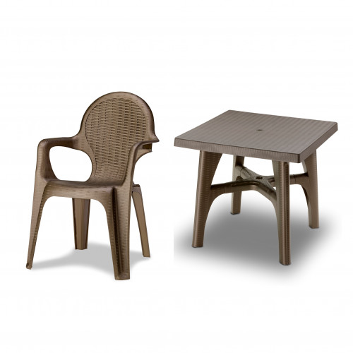 4 Seater Resin Rattan Effect Dining Set - Square Table