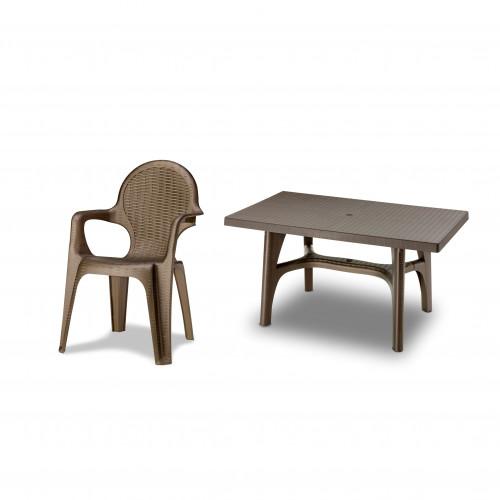 6 Seater Resin Rattan Effect Dining Set - Rectangular Table