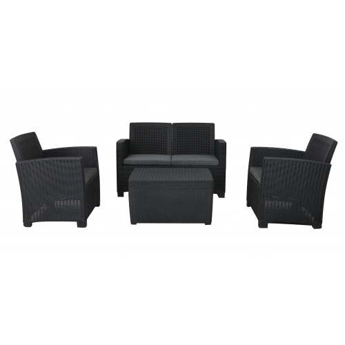 Black Rattan Effect 4 Seater Coffee Set (Stock Due End of May)