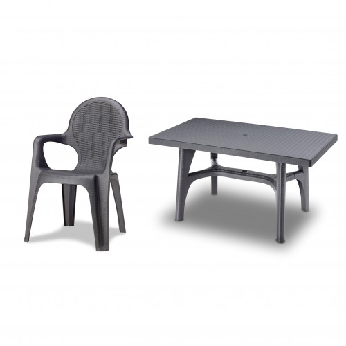 Anthracite Grey Resin Rattan Effect Dining Set 6 Seater
