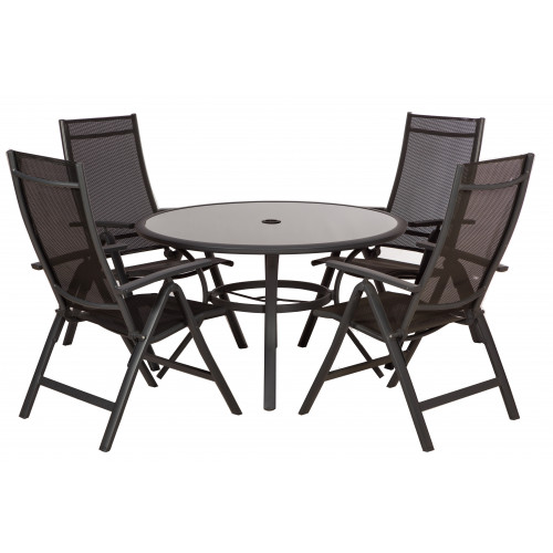 Black Mesh 4 Seater Round Set (Stock Due in July)