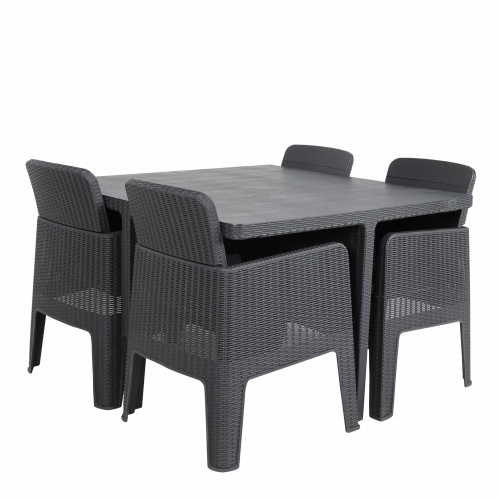 Black Rattan Effect 4 Seater Cube Set (Stock Due End of May)