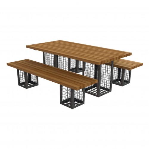 Gabion 3 Piece Outdoor Furniture Set (No Wood)