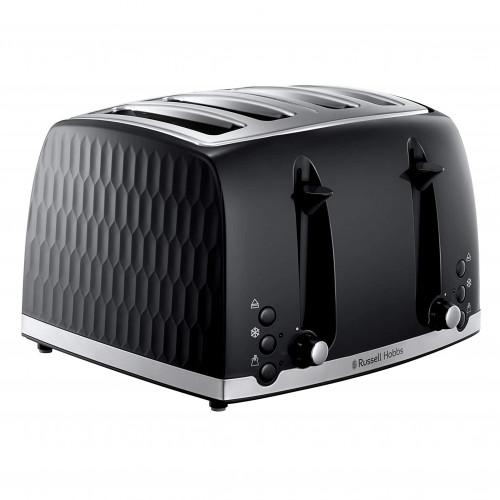 Russell Hobbs Black Honeycomb 4 Slice Toaster 1500w