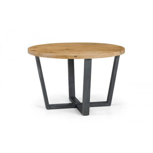 Brooklyn Solid Oak and Gunmetal Round Dining Table