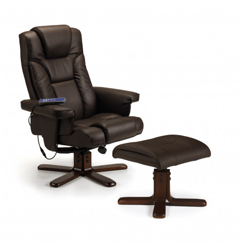 Malmo Swivel and Recline Chair Faux Leather - Brown