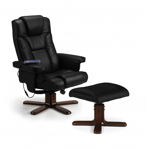 Malmo Swivel and Recline Chair Faux Leather - Black