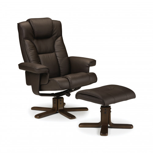 Malmo Massage Swivel and Recline Chair Faux Leather - Brown