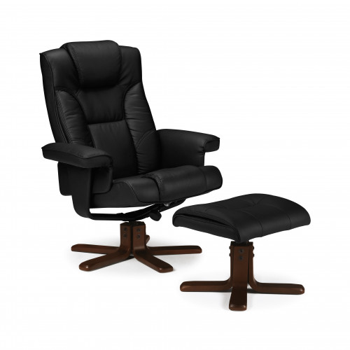 Malmo Massage Swivel and Recline Chair Faux Leather - Black