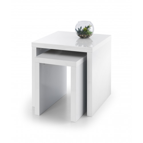 Metro High Gloss Nest of Tables - White
