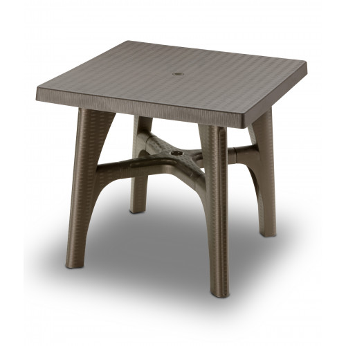 Bronze Resin Rattan Effect Rectangular Table 80 x 80cm