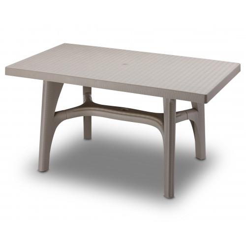 Dove Grey Resin Rattan Effect Rectangular Table 140 x 80cm