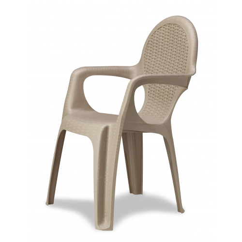 Dove Grey Resin Rattan Effect Stackable Chair