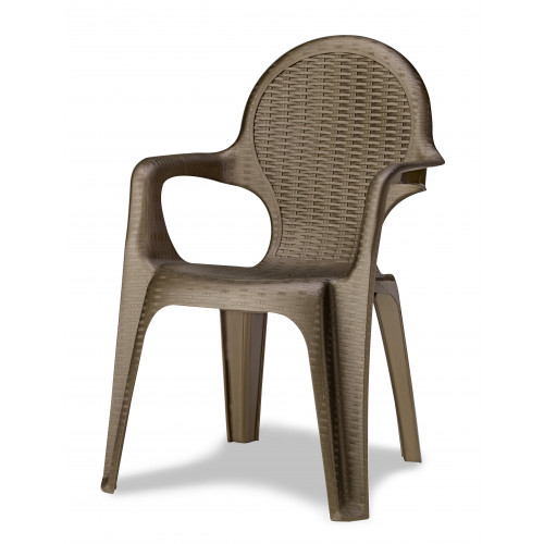 Bronze Resin Rattan Effect Stackable Chair